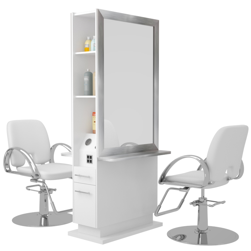 double sided hair styling stations novvo etopa toronto styling stations 8827 | Toronto Non LitStation Double Sided White1 TOSSD400